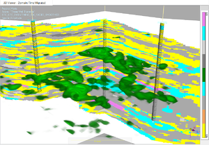 Machine learning rock type classification in the Wolfcamp age pay facies, seen in voxel visualization mode in SeisEarth – one of many demos at the Emerson booth