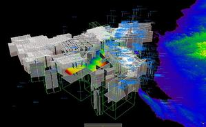 In Emerson's multi-user integrated interpretation platform, a regional scale display of multiple 2D and 3D seismic datasets and large interpretations supports asset team efficiency and collaboration, leading to higher productivity. Image based on Geoscience Australia material.